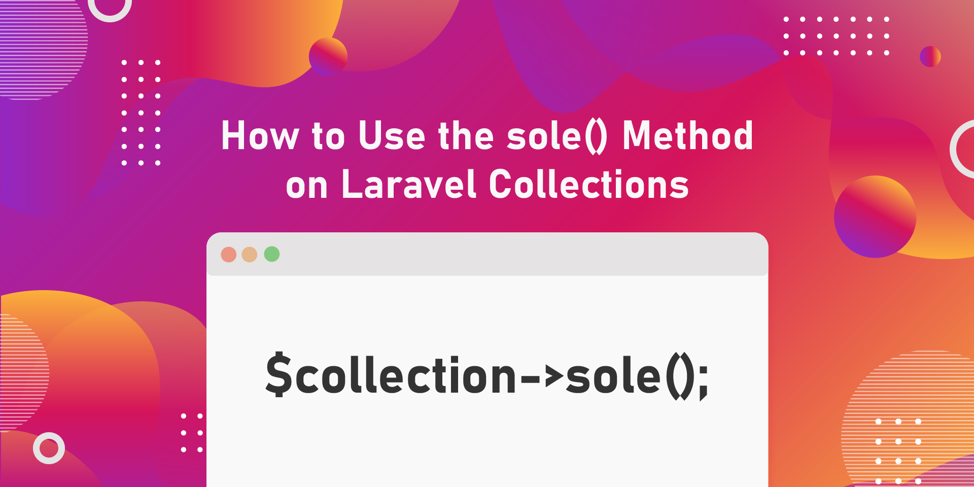 Learn how to use the new sole() method on Laravel collections. This feature was added in Laravel 8.39 and is a great way of ensuring data integrity.