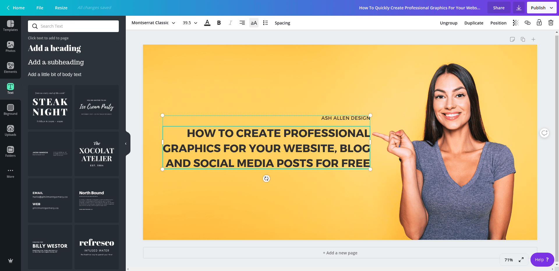 Canva - Create professional images for website design and social media